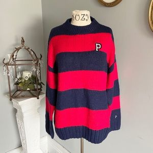 Pink Victoria's Secret striped varsity sweater